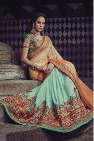 Net and Bemberg Georgette Heavy Embroidery Designer Saree In Sky Blue and Orange Colour