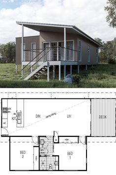 Featuring 2 Bedrooms and 1 Bathroom - Set across a spacious View floor plan and design features - Save up to on build costs with Imagine. Modern Small House Design, Smart Home Design, Building A Container Home, Container House Design, Shed Homes, Kit Homes, 2 Bedroom House Design, Tiny Beach House, Cute Little Houses