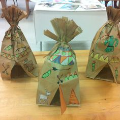 Paper bag tepees- multicultural art/elementary art (art teacher: v. giannetto)- I don't think I would teach this in art but these are cute and it would be a fun classroom project. Kids Crafts, Preschool Crafts, Fall Crafts, Holiday Crafts, Arts And Crafts, Thanksgiving Preschool, Thanksgiving Art, Preschool Christmas, Autumn Activities