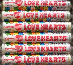 Love Hearts, £8.40 for a whole box of 24 packs.