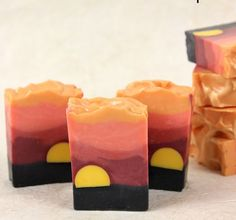 Another beautiful landscape inspired soap. The bright yellow sun is created with LCP (like cold process) melt and pour soap. LCP soap has little to no sweating, which makes it perfect for embeds. Soap Making Recipes, Homemade Soap Recipes, Savon Soap, Soap Tutorial, Soap Packaging, Handmade Soaps, Diy Soaps, Cold Process Soap, Home Made Soap