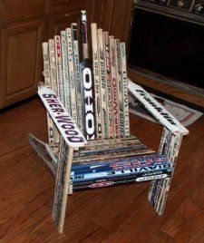 chair made of hockey sticks  10-15 years ago, I would've had enough sticks to make this!