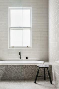 Best Terrazo Wall Bathroom Ideas - Home of Pondo - Home Design Minimalist Bathroom, Modern Bathroom, Small Bathroom, Glass Bathroom, Modern Minimalist, Laundry In Bathroom, Bathroom Renos, Bathroom Ideas, Bathroom Styling