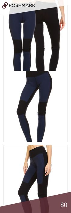 Navy and Black Block Leggings..New Super hip color navy panel leggings front side and all black back side. Great addition to your work out collection!! Nylon and Spandex Size S M L Pants Leggings