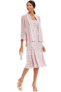 Sheath/Column Square Tea-length Chiffon Lace Mother of the Bride Dress