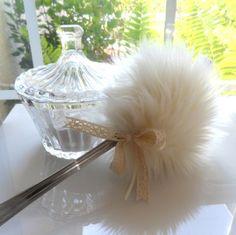 Cream Powder Puff Wand  soft creamy ivory lolli by BonnyBubbles, $38.50