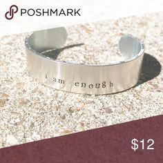 "I am enough cuff bracelet metal stamped. Hand made metal cuff bracelet hand stamped. 5/8"" wide 6"" long adjustable. Jewelry Bracelets"