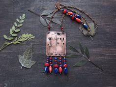 Boho Necklace Plant Pendant Copper Necklace by MaryBulanova