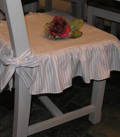 ticking stripe ruffled chair seat covers  for customer