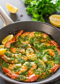 Ingredients: Serves: 4 Prep Time: 5 mins Total Time: 25 mins  1 lb of raw shrimp, deveined, shells off except the tail 1/4 cup butter 3 cloves garlic 1/4 cup parsl