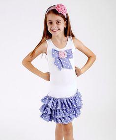 Look at this #zulilyfind! Blue & White Polka Dot Drop-Waist Dress - Toddler & Girls by Mia Belle Baby #zulilyfinds