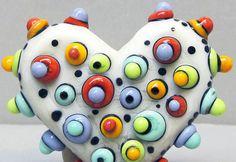 Mini Mod Spot Heart in CreamHandmade Lampwork by beadygirlbeads, $30.00