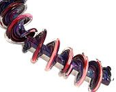 Pearly Karpel Lampwork Purple Spiral Beads (5) SRA