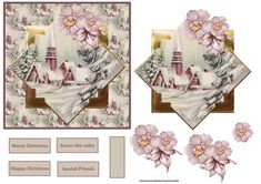 Vintage church at Christmas with decoupage on Craftsuprint designed by Angela Wake - Vintage church at Christmas with decoupage and sentiment tags - Now available for download!