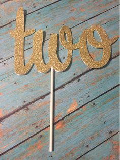 Second Birthday Cake Topper TWO Cake Topper Gold by LadadaDesigns