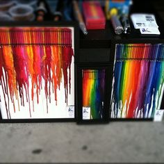 crayons melted down the canvas by a heat gun - beautiful