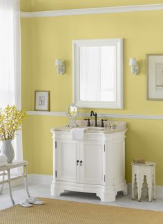 Isnt this a sunny design? Upgrade your bathroom from classic white with walls in soft, summery Chartreuse SW 0073.