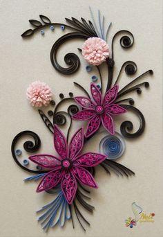 neli: Quilling card- purple flowers