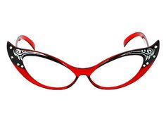 PIN IT TO WIN! 1950's Style Red Costume Cat Eye Glasses with Rhinestone Accents