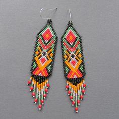 Colorful  Seed bead earrings  Peyote Earrings by Anabel27shop, #beadwork #handmade