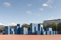 Constructed using 50 blue shipping containers, the arrangement of Steelhenge is based on the concentric layout of Neolithic monument Stonehenge.