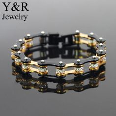 316l Stainless Steel Gold And Black Bike Chain Bracelet With Crystals