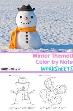 This is a fun activity for classes that have a little extra time left at the end. The set includes five different winter printables. These color by note sheets are also great for sub tubs, fun homework/classwork, and displaying student work on bulletin bo Note Sheet, Winter Songs, Music Worksheets, Winter Images, Elementary Music, Music Classroom, Music Theory, Teaching Music, Winter Theme