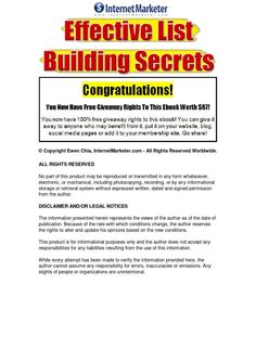 Effective List Building Secrets Learn the most effective list building secrets you need to learn and implement now, for your online business to generate maximum profits - Tools and powerful strategies needed to build a laser targeted, responsive subscribers list, that potentially could become a major key element to your online business marketing success.
