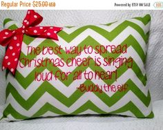 CYBER MONDAY SALE Christmas Pillow Cover Green Chevron by MamaBern