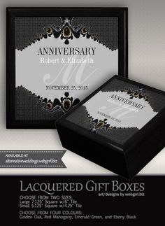 Stylish Grey Black Ornate Wedding Anniversary Gift Diamond Anniversary Rings, Wedding Anniversary Gifts, Wooden Gift Boxes, Golden Oak, W 6, Box Art, Colours, Frame, Prints