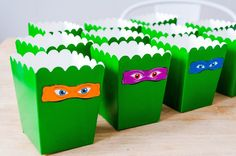 Ninja turtle birthday popcorn boxes