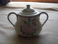 Ancien sucrier tole émaillée peinte décor roses old french enamel sugar pot