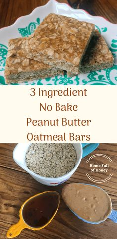 A quick and easy recipe for a healthy on-the-go 3 ingredient snack: 3 Ingredient No Bake Peanut Butter Oatmeal Bars. These bars are perfect for school, work, sports, pre- and post-workout, or anytime… The Oatmeal, Oatmeal Bars Healthy, No Bake Oatmeal Bars, Oatmeal Bites, No Bake Bars, Baked Oatmeal, Oatmeal Recipes, No Cook Oatmeal, Healthy Bars
