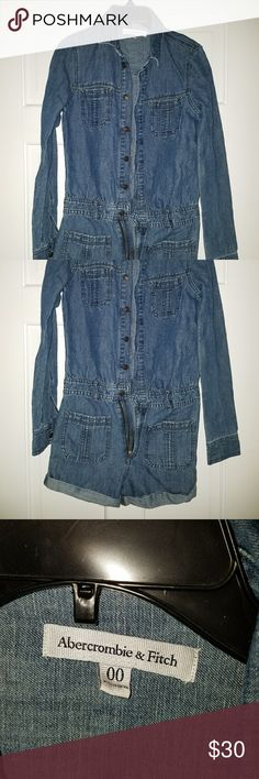 Abercrombie & Fitch long sleeved jean romper Abercrombie & Fitch long sleeved jean romper, size 00.  Never worn, just washed.  Price is firm. Abercrombie & Fitch Jeans