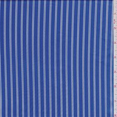 Royal/White Stripe Charmeuse - 36957 - Fabric By The Yard At Discount Prices