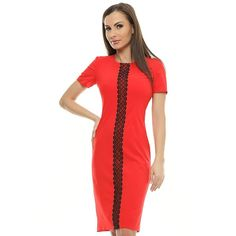 Rochie rosie cu broderie neagra RO97 de la Ama Fashion Short Sleeve Dresses, Dresses With Sleeves, Dresses For Work, Casual, Designers, Color, Fashion, Embroidery, Moda