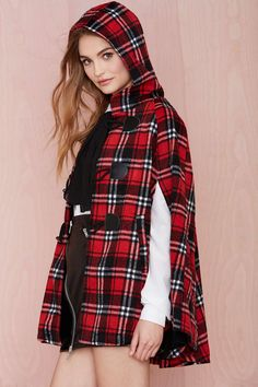 Nasty Gal English Nights Cape - Red | Shop Jackets + Coats at Nasty Gal