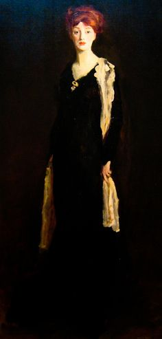 Lady in Black with Spanish Scarf (1910) by Robert Henri (1865-1929), American - leading painter of the Ashcan School (posted by Sharon Mollerus)