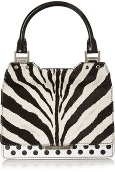 Jimmy Choo Amie zebra-print calf hair and leather tote | NET-A-PORTER