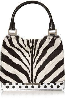 Jimmy Choo Amie zebra-print calf hair and leather tote | NET-A-PORTER