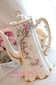 Chocolate Pot with pretty floral and gilt decoration