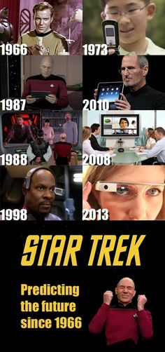 "It's not that Star Trek is predicting the future.  It's that everyone who made those devices were geeks who grew up on the show and based their designs on it.  ""Star Trek says it's possible?  LET'S MAKE IT POSSIBLE!  FOR SCIENCE!"""