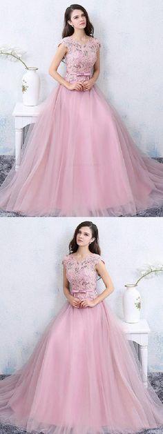 7e3716b9e83e Outlet Suitable Lace, Pink, A-Line, Modest. Modest Evening Dress, Prom ...