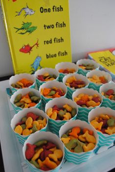 Dr Seuss party- Goldfish for One Fish, Two Fish, Red Fish, Blue Fish.