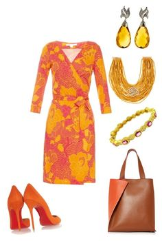 """""""sunny day"""" by mcounce on Polyvore featuring Diane Von Furstenberg, Christian Louboutin, Paule Ka, Rosantica and Doris Panos"""