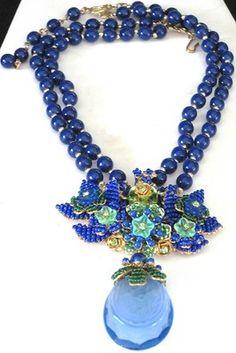 Stanley Hagler Beautiful Blue Green Glass Flower Rhinestone Necklace | eBay