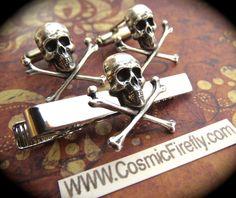Silver Skull Cufflinks & Skull Tie Clip Men's Cufflinks Gothic Victorian Steampunk Cufflinks Pirate Cufflinks. $45.00, via Etsy.
