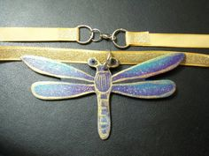 GreenBlue Dragonfly PENDANT Airbrushed & by CelistellART on Etsy