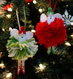 just what i {squeeze} in: Pom-Pom Fairies for the Tree Christmas Angel Crafts, Diy Christmas Presents, Felt Christmas Decorations, Holiday Crafts For Kids, Christmas Fairy, Christmas Makes, Xmas Crafts, Kids Christmas, Ornament Crafts