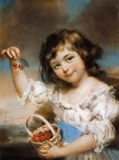 Russell, John (1745-1806) - 1780 Small Girl Presenting Cherries (Musee du Louvre, Paris)